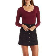 Charlotte Russe Burgundy Long Sleeve Crop Top by Charlotte Russe at... ($8.99) ❤ liked on Polyvore featuring tops, burgundy, charlotte russe, long sleeve crop top, burgundy crop top, burgundy top and long sleeve tops