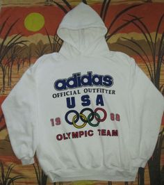 vtg ADIDAS 1988 USA OLYMPIC GAMES TEAM HOODIE shirt jersey 88 united states RARE…