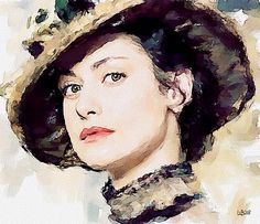 Digital watercolor of Russian actress  Anna Kovaltchouk by Vitaly Shchukin