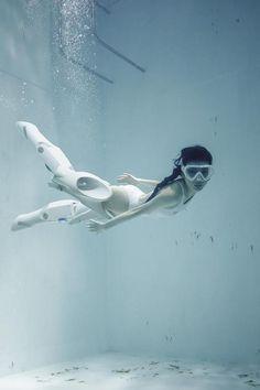 Circuitfry functional jet-propulsion swimming robot legs aqua-cyborg