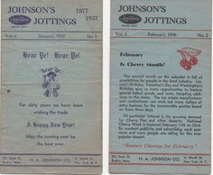 1936 - 37 Johnson's Jottings, January 1937, February 1936, H. A. Johnson Co., Boston, NY,  Cooking Supplies and Hints, good shape by VintageNEJunk on Etsy