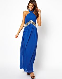 088ab0579293fd Little Mistress Halter Maxi Dress with Embellishment on shopstyle.co.uk  Halter Maxi Jurken