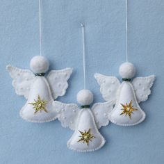 Easy Christmas Crafts For Toddlers, Christmas Angel Decorations, Christmas Angel Ornaments, Felt Ornaments, Christmas Ornament Template, Christmas Stocking Pattern, Christmas Sewing, Handmade Christmas, Dulceros Halloween