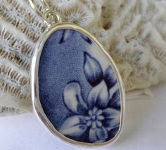Broken China Necklace Pendant  Chaney Sterling by MaroonedJewelry