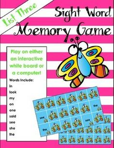 Sight word game that kids will love! Play on the computer or interactive white board. Perfect way to integrate technology into learning.
