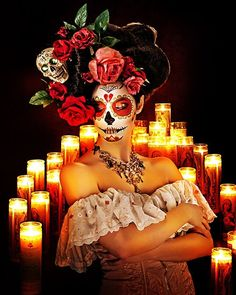 exotic day of the dead celebration. sugar skull mask. magical face painting.