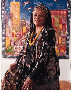 faith ringgold - Actiivist and artist She's most famous for her story quilts and her storybooks. Faith Ringgold (born October 8, 1930 in Harlem, New York City) is an African American artist, best known for her painted story quilts.