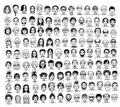 Collection of diverse hand drawn faces royalty-free collection of diverse hand drawn faces stock vector art & more images of doodle Black And White Art Drawing, Black And White Face, Face Illustration, Character Illustration, Free Doodles, Doodle People, Sketch Note, Drawing Cartoon Faces, Cartoon People