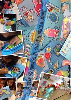 Dibujos de las maravillas del cielo. Rotulador y crayones. Picado del contorno con punzones.