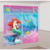 Little Mermaid Birthday Party Supplies Canada: This Little Mermaid Sparkle Scene Setter Kit features Ariel and her friends Flounder and Sabastien. The Little Mermaid Sparkle Scene Setter Kit includes. Little Mermaid Party Supplies, Little Mermaid Decorations, Party Wall Decorations, Little Mermaid Parties, Little Mermaid Birthday, Disney Little Mermaids, Ariel The Little Mermaid, Party Themes, Party Ideas