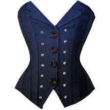 Image result for corset vest with button up shirt