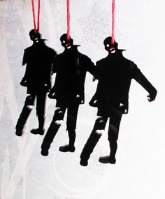 zombie christmas  | Zombie Silhouette Christmas Tree Ornaments, set of 3 small. braainns ...