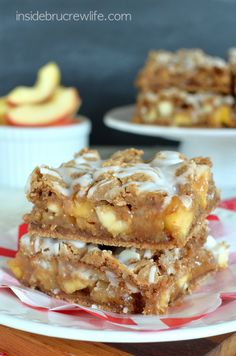 Caramel Apple Bars Recipe ~ Cake mix bars get a fun twist when filled with caramel, apples, and walnuts