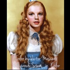 """Judy Garland in costume for the first time as Dorothy in """"The Wizard of Oz"""" - her costume and make u - hollywood_stars_in_color"""