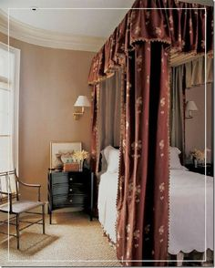 canopy made of Rose Tarlow fabric ticking and brocade.