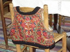 Hungarian Embroidery Patterns A sheepskin vest entirely covered in embroidery Chain Stitch Embroidery, Embroidery Patterns, Hand Embroidery, Stitch Head, Hungarian Embroidery, Folk Costume, Costumes, Straight Stitch, Embroidery Fashion