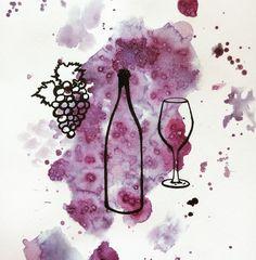 racimo de uvas y botella de vino dibujo - Buscar con Google