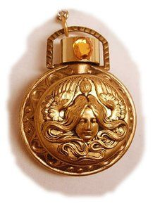 VIntage Perfume Art Nouveau Mucha Goddess jeweled Pendant necklace