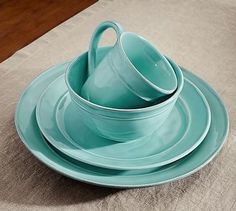 Cambria Salad Plate, Set Of 4 - Turquoise #potterybarn
