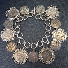 Silver Charms, Sterling Silver Bracelets, Silver Jewelry, Vintage Charm Bracelet, Charm Bracelets, Coin Jewelry, Wire Jewelry, Antique Jewelry, Vintage Jewelry