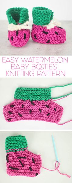 FREE knitting instructions for these totally EASY watermelon baby shoes! FREE knitting instructions for these totally EASY watermelon baby shoes! , FREE knitting pattern for these totally EASY Watermelon Baby Booties! Baby Booties Knitting Pattern, Crochet Baby Boots, Knit Baby Booties, Baby Knitting Patterns, Crochet Patterns, Booties Crochet, Knit Crochet, Crochet Hats, Diy Bebe