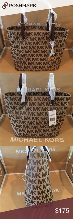🏝💐Michael Kors Jet Set Logo Tote🏝Mocha👜 Ready, set, Jet Set! This eye-catching carryall is just the ticket for travel-ready style. Michael Kors created a spacious, streamlined shape from MK logo-print jacquard, a durable fabric with elegant sheen. Metallic-leather handles and logo charm lend extra glamour. Inside, pockets keep small essentials organized, leaving room for bigger items like files and a pair of flats.  Specifications MaterialFabric ClosureZip-top Closure OriginImported…