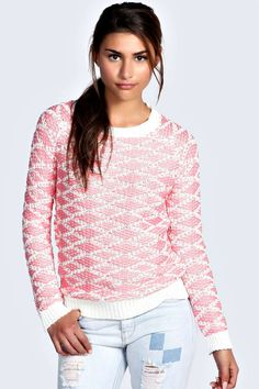 """Boohoo Alice Tube Knit Patterned Jumper - coral - """"on Vein - getvein.com"""" Oversized Jumper, Pretty Pastel, Knit Patterns, Boohoo, Vintage Inspired, Knitwear, Tube, Coral, Clothes For Women"""