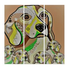 Beagle and Babies Brown Tones Triptych - baby gifts giftidea diy unique cute
