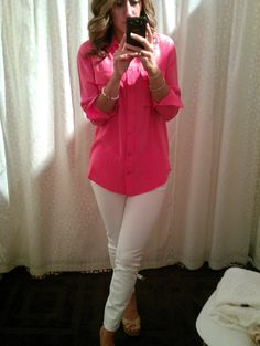 New outfit!  White Current Elliot jeans w/ pink silk top, perfect for spring.