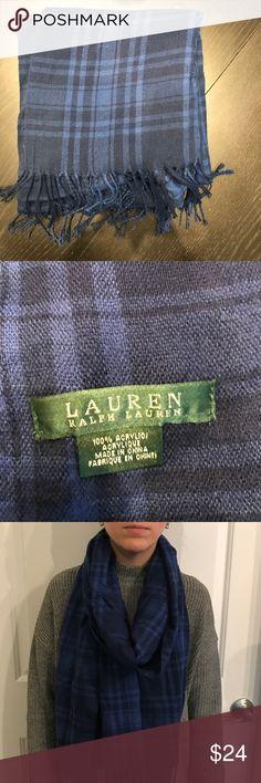 Ralph Lauren blue scarf Ralph Lauren blue plaid scarf. Only worn once. Lauren Ralph Lauren Accessories Scarves & Wraps