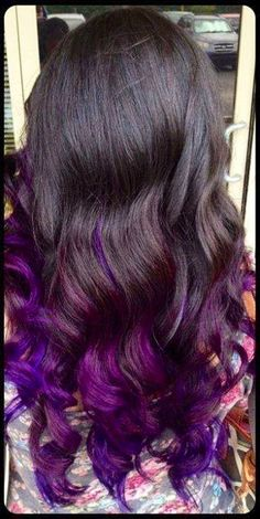 Purple highlights..... I want my hair like this so bad.... One day I will have my hair like this