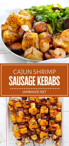 Kick your grilling up a notch with this summer bbq idea! Even kids will love Cajun Shrimp Sausage Kebabs. With just a few ingredients and a little prep, you can have these tasty and satisfying skewers with just enough of a spicy kick. Pin this amazing recipe for later! Kitchen Recipes, Cooking Recipes, Healthy Recipes, Healthy Food, Summer Grilling Recipes, Summer Recipes, Kebab Recipes, Seafood Recipes, Kebabs