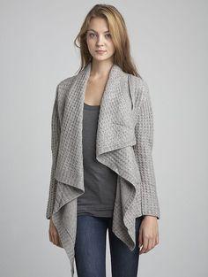 inhabit | thermal stitch drape-front cardigan