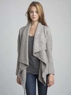 inhabit | thermal stitch drape-front cardigan