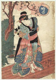 Original Toyokuni III/Kunisada (1786 - 1864) Japanese Woodblock Print Beauty Playing with a Cat