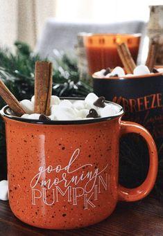 Hot cocoa in this good morning pumpkin mug! Hot cocoa in this good morning pumpkin mug! Autumn Coffee, Autumn Cozy, Autumn Morning, Fall Winter, Autumn Aesthetic, Happy Fall Y'all, Autumn Activities, Hello Autumn, Autumn Inspiration