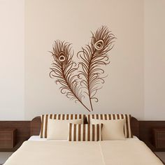 Feather Wall Decal Stickers Set Of 2 Peacock by FabWallDecals