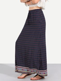 Multicolor Vintage Print Pockets Boho Maxi Skirt -SheIn(Sheinside)