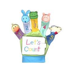 Los padres pueden compartir esta rima de conteo encantadora con sus pequeños mientras manipulan cinco títeres de dedo-incluyendo un pato, un conejo, una rana, un cerdo y un cordero. Incluye el guante y el libro de cartón con una rima para contar.