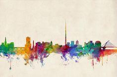 Dublin Ireland Skyline by Michael Tompsett