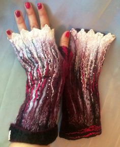 Fingerless felted Gloves wool burgundy maroon door Tatiana123, $45.00
