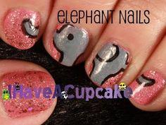 Simple Cute Elephant Nail Art