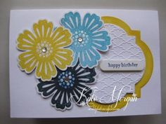 Stampin' Up! Blossom Punch, Mixed Bunch Stamps, Windows Frames Collection Framelits Dies, Fancy Fan Embossing Folder