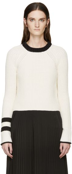 Rag & Bone: Cream Knit Greer Sweater | SSENSE