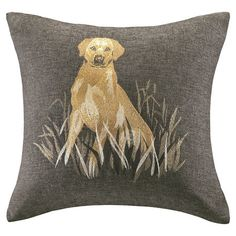 Add a charming touch to your sofa or favorite reading nook with this eye-catching pillow, featuring a sitting dog motif.  Product: