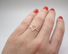 Diamond shape ring Sterling silver and gold by AnnieLesperance