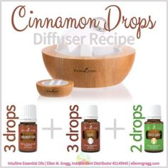 Diffuser Recipe: Cinnamon Drops ~ Essential Oil Diffuser Recipes featuring Young Living Essential Oils