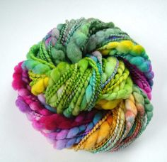 Handspun, merino, silk. I wouldn't ever knit it. I would just look at it.