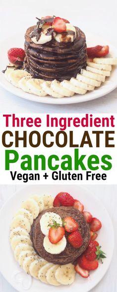 Four Ingredient Chocolate Vegan Pancakes - Healthy food world Healthy Breakfast Recipes, Brunch Recipes, Gourmet Recipes, Healthy Snacks, Cooking Recipes, Breakfast Ideas, Vegan Gluten Free Breakfast, Pancake Recipes, Healthy Breakfasts