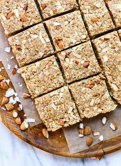 Healthy homemade almond coconut granola bars that taste amazing! cookieandkate.com